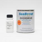 Seaboost Overdrive eco antifouling paint in fluorescent race red.
