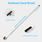 Seaboost Powerbrush Dock is best way to clean boat hull ashore and an ultimate tool for renovating old paint layers. Dock comes with a very coarse Original brush and a nylon Scraper that effectively removes barnacles.